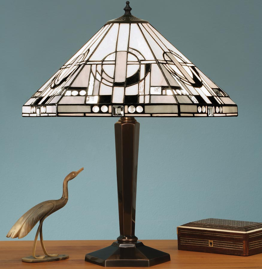 Metropolitan Cast Brass Base Art Deco Style Tiffany Table Lamp 64263