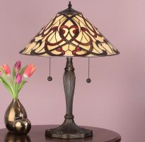 Ruban Art Nouveau Design 2 Light Tiffany Table Lamp