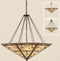 Beige Dragonfly Large Feature Tiffany Mega Pendant Light