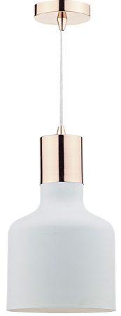 Dar Toto Modern White 1 Light Kitchen Pendant Copper Trim