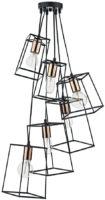 Dar Tower Matt Black 6 Light Cluster Pendant Copper Detail