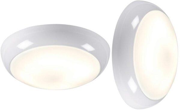 White IP44 Rust Proof 16w 2D Outdoor Opal Bulkhead / Porch Light