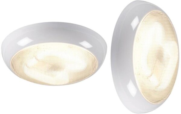 Round white IP44 rust proof 16w 2D outdoor prismatic bulkhead or porch light