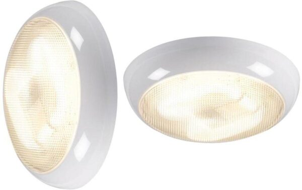 Round white IP44 rust proof 38w 2D outdoor prismatic bulkhead or porch light