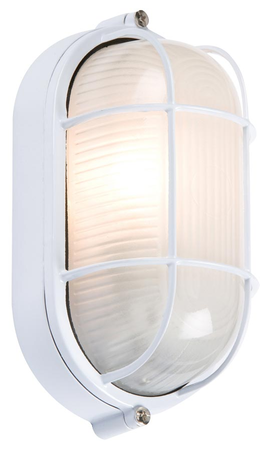 White industrial oval bulkhead light wire guard opal glass IP54 wall mounted