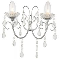 Tabitha Twin Bathroom Wall Light Polished Chrome Crystal Drops