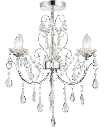 Tabitha 3 Light Semi Flush Bathroom Chandelier Chrome Crystal Drops