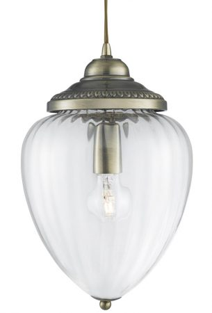 Traditional Antique Brass Clear Ribbed Glass Hanging Lantern