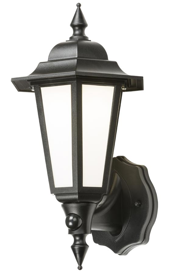 Traditional LED outdoor PIR wall lantern black manual override IP54