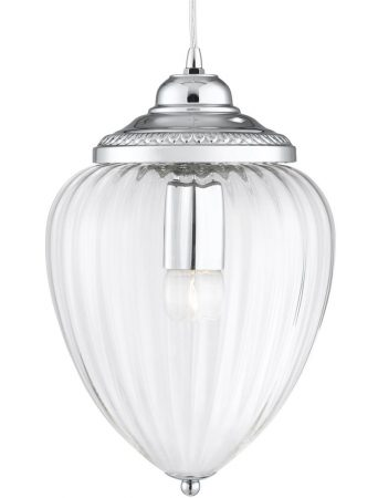 Traditional Polished Chrome Clear Ribbed Glass Hanging Lantern