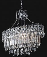Franklite Tzarina Chrome 6 Light Oval Crystal Pendant Chandelier