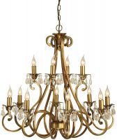 Oksana Brass 2 Tier 12 Light Large Chandelier With Crystal Drops