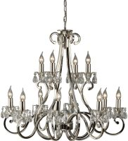 Oksana Nickel 2 Tier 12 Light Large Chandelier With Crystal Drops