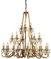Oksana Brass 3 Tier 21 Light Large Chandelier With Crystal Drops