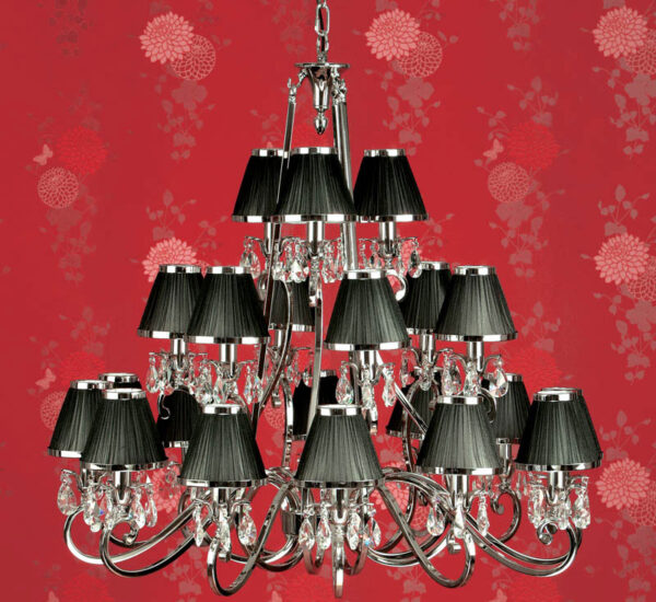 Oksana Large Nickel 21 Light Crystal Chandelier Black Shades