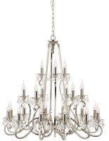 Oksana Nickel 3 Tier 21 Light Large Chandelier With Crystal Drops