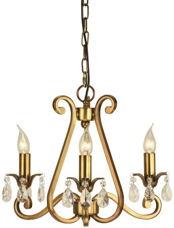 Oksana Antique Brass 3 Light Chandelier With Crystal Drops