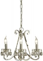 Oksana Polished Nickel 3 Light Chandelier With Crystal Drops