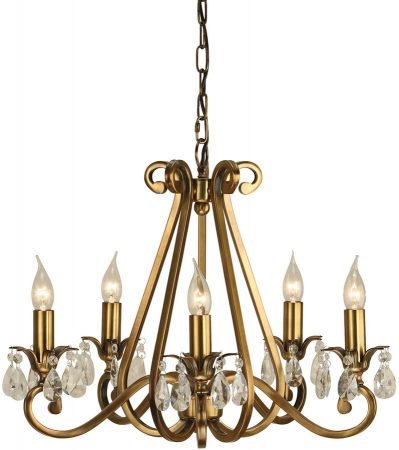 Oksana Antique Brass 5 Light Chandelier With Crystal Drops