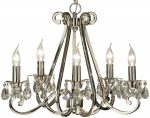 Oksana Polished Nickel 5 Light Chandelier With Crystal Drops