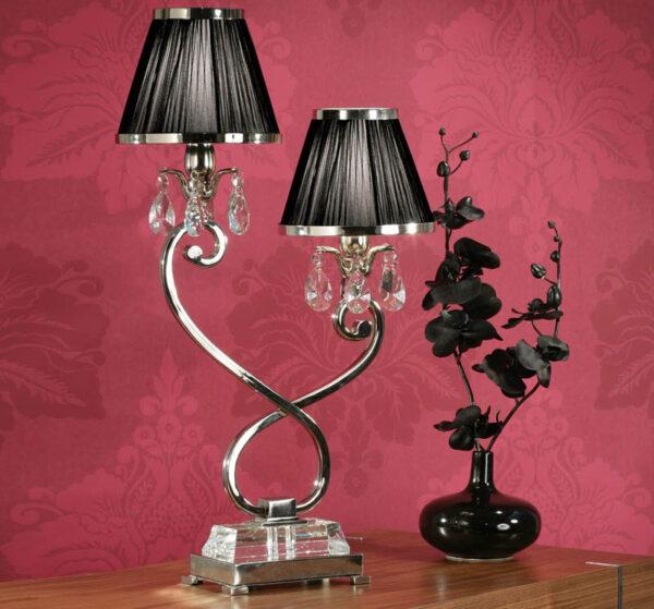 Oksana Nickel 2 Light Table Lamp Crystal Drops Black Shades