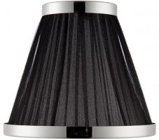 Suffolk Black 8 Inch Table Lamp Shade With Polished Nickel Frame