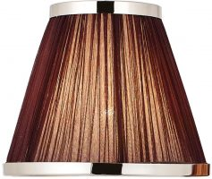 Suffolk Chocolate 8 Inch Lamp Shade With Polished Nickel Frame
