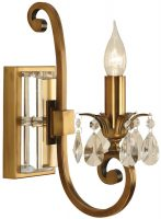 Oksana Antique Brass Single Wall Light With Crystal Drops