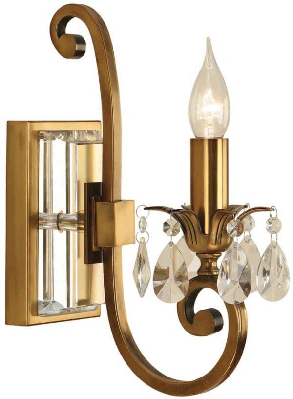 Oksana Antique Brass Single Wall Light With Crystal Drops