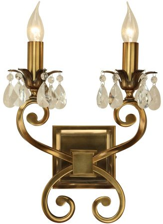 Oksana Antique Brass Twin Wall Light With Crystal Drops