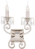 Oksana Polished Nickel Twin Wall Light With Crystal Drops