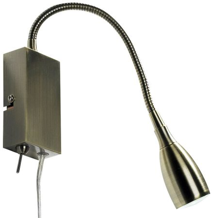 Dar Uno Flexible Switched LED Wall Reading Light Antique Brass