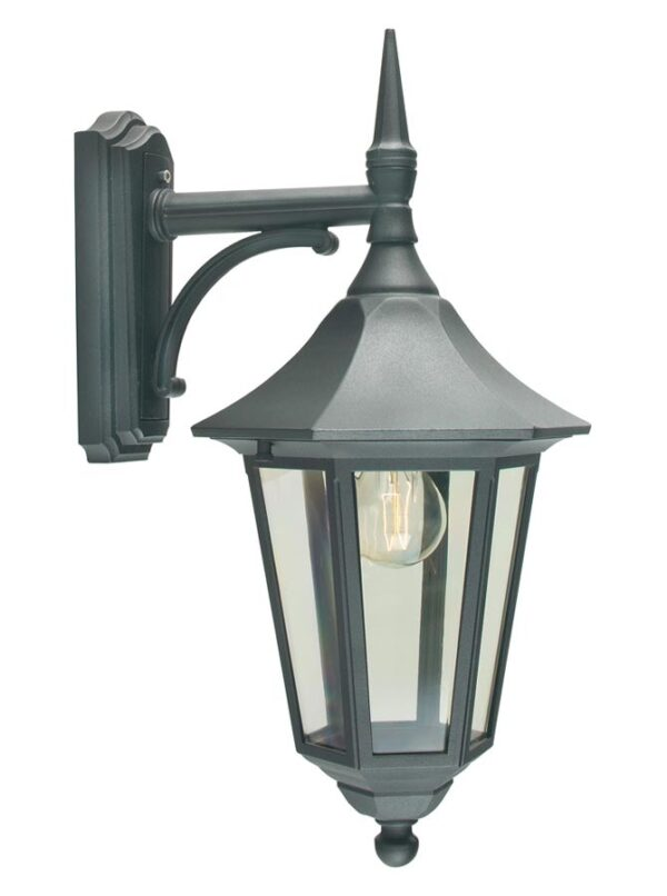 Norlys Valencia traditional black downward outdoor wall lantern IP54