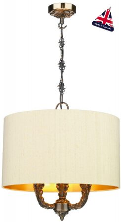 David Hunt Valerio Bronze 3 Light Pendant Silk Shade Choice