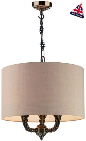 David Hunt Valerio Bronze 3 Light Pendant Taupe Silk Shade