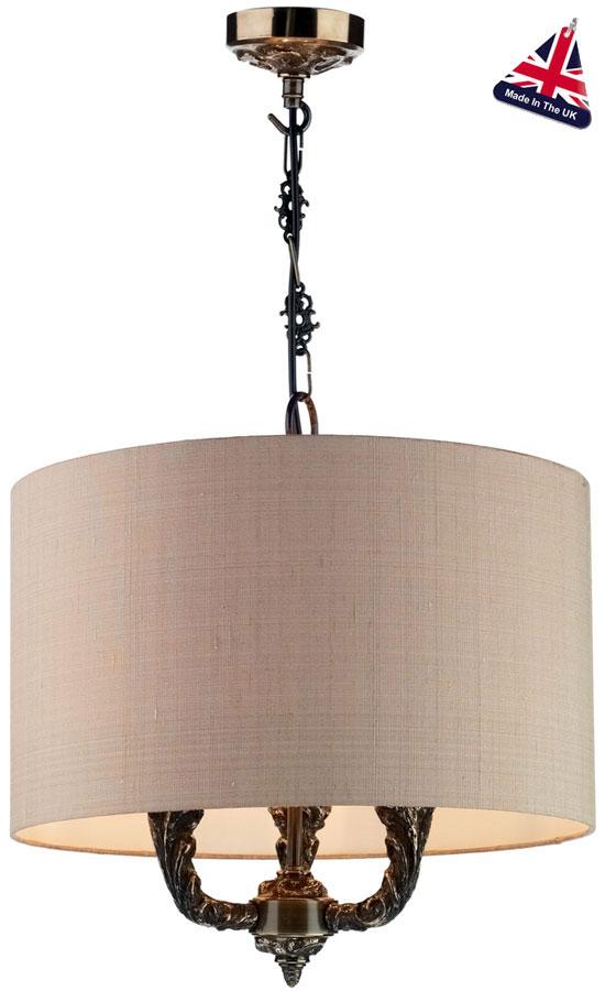 David Hunt Valerio Bronze 3 Light Pendant Taupe Silk Shade