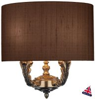 David Hunt Valerio Bronze Twin Wall Light Silk Shade Choice