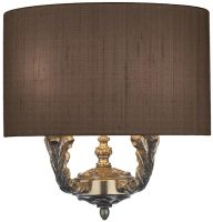 David Hunt Valerio Bronze Twin Wall Light Gold Lined Silk Shade