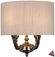 David Hunt Valerio Bronze Twin Wall Light Taupe Silk Shade