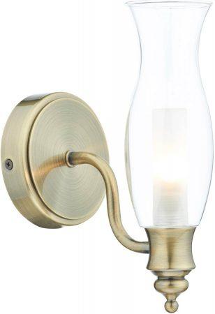 Dar Vestry Traditional Bathroom Wall Light Antique Brass