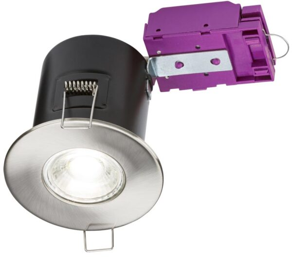 Mains voltage brushed chrome 90-minute fire rated fixed downlight