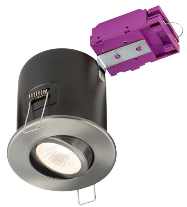Mains voltage brushed chrome 90-minute fire rated tilt downlight