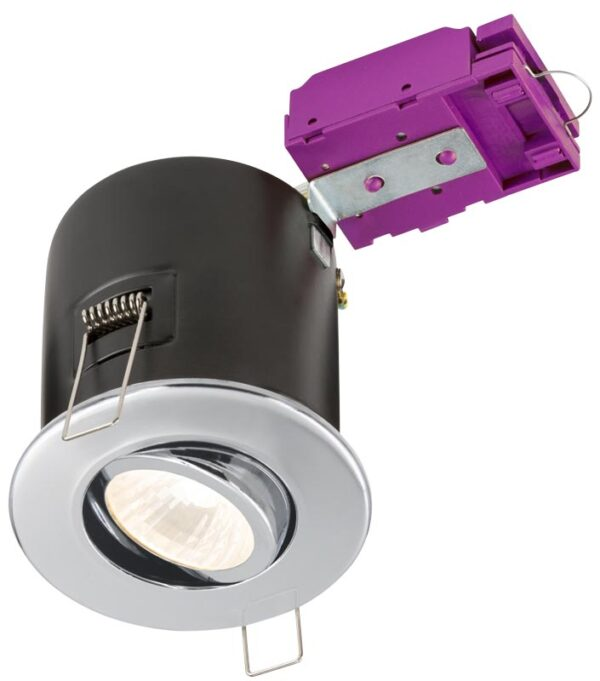 Mains voltage polished chrome 90-minute fire rated tilt downlight