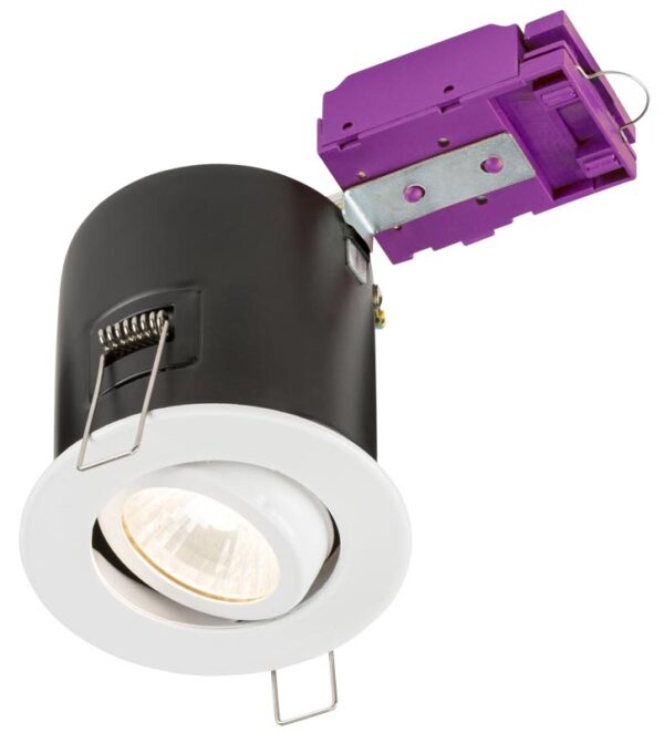 Mains voltage white 90-minute fire rated tilt downlight