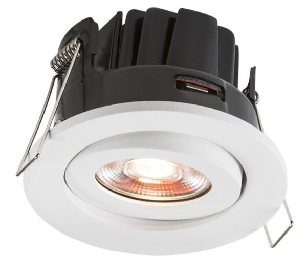 8W Dimmable LED Fire Rated Tilt Downlight Cool White 4000K