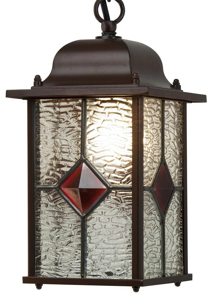 Victorian Red Diamond Leaded Glass Hanging Porch Light VIC494