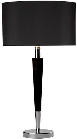 Dar Viking Black Wood Table Lamp Polished Chrome Black Shade