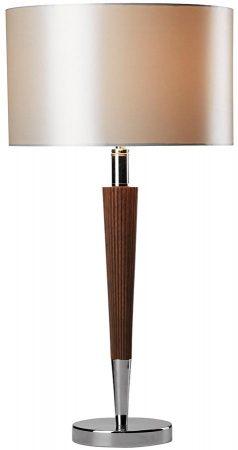 Dar Viking Dark Wood Table Lamp Polished Chrome Cream Shade