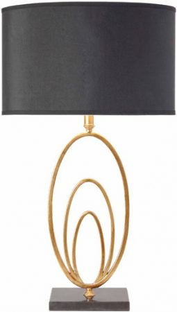 Vilana Antique Gold Leaf Table Lamp With BLack Shade