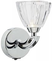 Dar Vito Modern Crystal Single Switched Wall Light Chrome